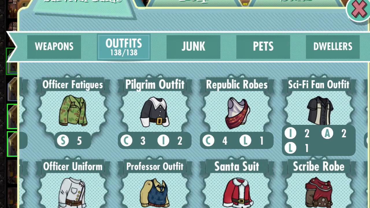 fallout shelter survival guide outfits