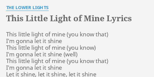 this little guiding light of mine song